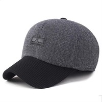 New baseball cap men winter Caps outdoor leisure sports old men father dad Hats Thick warm earmuffs PU label baseball cap