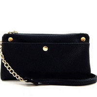 Simple Leather Wallet Clutch with Chain Crossbody Strap - Black, Navy, Brown, or Taupe