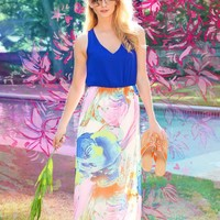 Bestow Happiness Maxi Dress-Royal