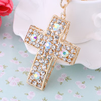 Gold Plated Full Crystal Cross Keychain