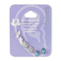 Silver and Turquoise Festival Stud Earrings with Ear Cuff Set of 4