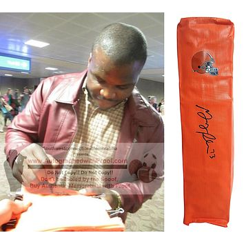 Greg Robinson Autographed Cleveland Browns Football End Zone Pylon, Proof
