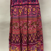 Long Indian Wrap Skirt in Cotton with Elephant and Camel Vintage Print - Pink