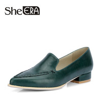 2017 Pointed Toe Women Pumps Basic Slip-on Square Heels Solid Punk Low Heels Shoes High Quality PU Loafers for Woman