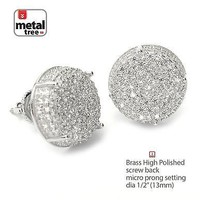 Jewelry Kay style Men's Iced Hip Hop Rh Plated XL Round Screw Back Stud Earrings SE 11403 S
