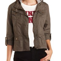 Olive Combo Hooded Twill Utility Jacket by Charlotte Russe