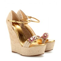 CAROLINA EMBELLISHED ESPADRILLE WEDGE SANDALS