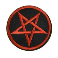 Red Pentagram with Black Patch Iron on Applique Occult Clothing