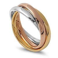 STR-0002 High Polished Stainless Steel Triple Multi Color Band Ring Size 3-12; Comes with Free Gift Box