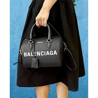 Balenciaga new letter print pillow bag handbag shoulder bag messenger bag black
