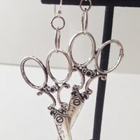 Scissor Earrings, Silver color, Charm Dangle, Steampunk and Craft Style, Silver Plated Hook, Sewing Jewelry