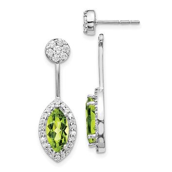 14k White Gold Real Diamond/Marquise Peridot Front/Back Earrings
