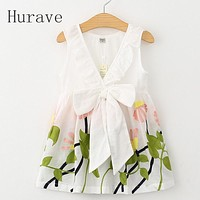 Girl Dress Floral Print Summer Dress Girls V neck Embroidered Vest Children Cloth Toddlers Infant