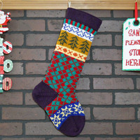 Argyle Christmas Stocking Hand Knit in Amethyst Purple, Fair Isle Knit Stocking with Green Trees and Yellow Stars, can be personalized