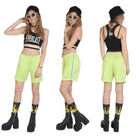 90s REEBOK Pastel Lime Green Baseball Shorts - Size Small - Slime Green - 90s Clothing - Cyber Goth Grunge - Sporty Shorts Womens - Stripe