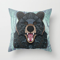 Ornate Black Bear Throw Pillow by ArtLovePassion
