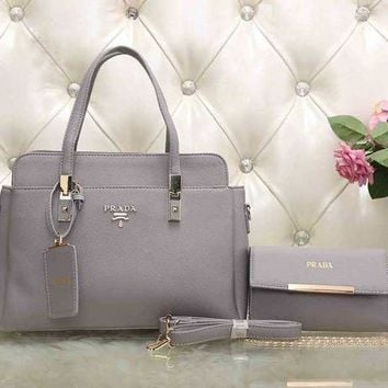 DCCKL7H PRADA Women Leather Tote Handbag Shoulder Bag