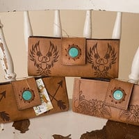 Leather Wallet w/Turquoise Stone