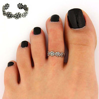 2Pieces Women Flower Antique Adjustable 925 Silver Plated Toe Ring Foot Beach Jewelry