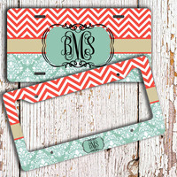 Damask license plate or frame, Monogrammed gift, Turquoise damask coral chevron, Monogram chevron car tag, Chevron bike accessory (1010)