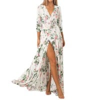 Bohemian Women White Boho Printed Floral Three Quarter Sleeve Draped Flowers Floor-length V-neck Summer Boho Long Maxi Dresses