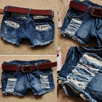New Spring Summer Female Europe America Korean Fashion Low Waist Hole Lace Women Denim Shorts Jeans
