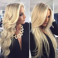 100% Brazilian Virgin Hair 613 Full Lace Blonde Human Hair Wigs Glueless Body Wave/Straight Full Lace Wigs With Bleached Knots