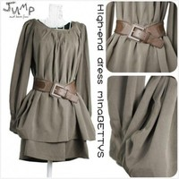 Army Green Loose Long-Sleeved Velvet Blazer with Belt@HX1523