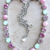 swarovski crystal choker- pink and green- pastel- with flower accents-  better than sabika- best deal