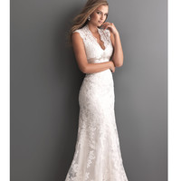 2013 Allure Bridal - White Lace Applique Keyhole Wedding Dress - Unique Vintage - Prom dresses, retro dresses, retro swimsuits.
