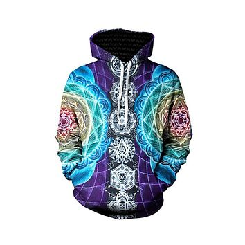 UIDEAZONE Psychedelic Hoodies Trippy Visionary Artwork Rainbow Mandala Chakra Art Sublimation Print Hoodies Men Plus Size 3XL