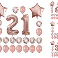 Rose Gold Birthday Number Balloons Set - 21st Birthday Balloons - 1st Birthday Balloons -Custom Age