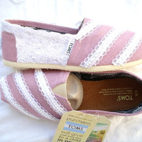 Lace and Pearls on Light Pink TOMS Original by by FruitfulFeet
