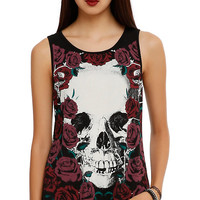 Skull & Roses Lace-Up Back Girls Tank Top
