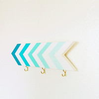 Wall hook chevrons turquoise blue mint ombre by oneeyeddog