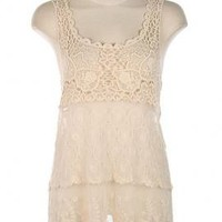 Camping Trip Crochet Lace Tiered Mesh Tunic Top in Ivory | Sincerely Sweet Boutique