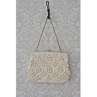Vintage Dainty Pearl  Kiss Lock Bag