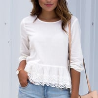 Let's Talk About Eyelet Long Sleeve Top - Off White