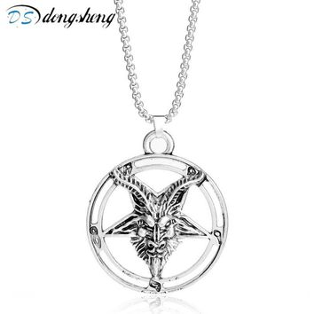 dongsheng Beauty and Beast  Inverted Pentagram Goat Pan God Skull Head Pendant Necklace Satanism Occult Choker Necklace-30