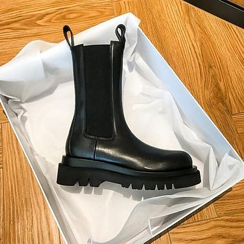 New Luxury Chelsea Boots Women Ankle Boots Chunky Winter Shoes Platform Ankle Boots Slip on Chunky Heel BV Boot Brand Botas