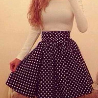 White and Black Color Block Long Sleeve Polka Dot Midi Dress