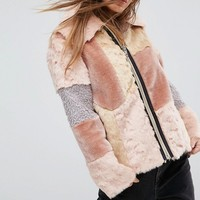 ASOS PETITE Jacket in Patchwork Faux Fur at asos.com