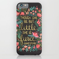 Little & Fierce on Charcoal iPhone & iPod Case by Cat Coquillette