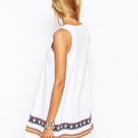 ASOS PETITE Swing Dress with Embroidered Tape Detail