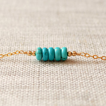 NEW Real Turquoise Bracelet, Gold Filled, Genuine Gemstone Row, Dainty, Simple Jewelry, Free Shipping