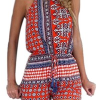 Choies Women's Polyester Blue/Red Cut out back Bohemian Casual Loose Romper Playsuit