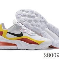 HCXX 19July 952 Nike Air Max 270 React Flyknit Running Shoes White Yellow Red