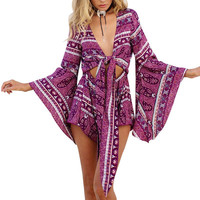 "Boho Romper ""Gypsy Love"" Purple Tie Front Playsuit With Kimono Bell Sleeves Sizes Small Medium Large Or Extra Large XL"