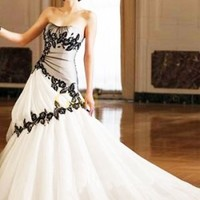 Ball Gown Strapless Scoop Beading Embroidery Taffeta Wedding Quinceanera Dress With Black Lace - US$228.99 - Goldwo.com