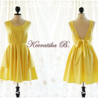 Party V Backless Dress Yellow Dress Bridesmaid Dress Yellow Prom Dress Backless Cocktail Dress Homecoming Dress Night Dress Custom Made
